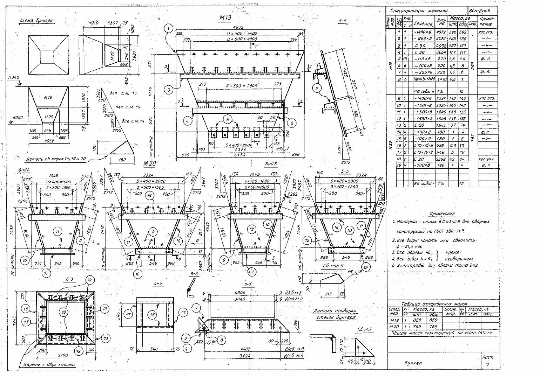 Схема приемного бункера
